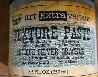 Metallic Antique Silver Crackle  Texture Paste, SILVER, silver patina paste,