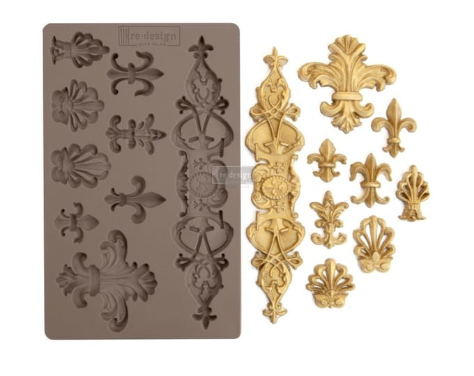 Fleur De Lis FREE SHIPPING Redesign with Prima Decor Moulds , Silicone Mold,  Resin Mold, 5 x 8 Silicone Mold