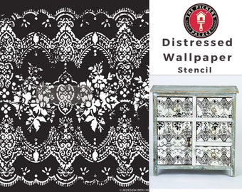 Distressed Wallpaper Stencil from ReDesign for furniture, walls and whatever you dream up!