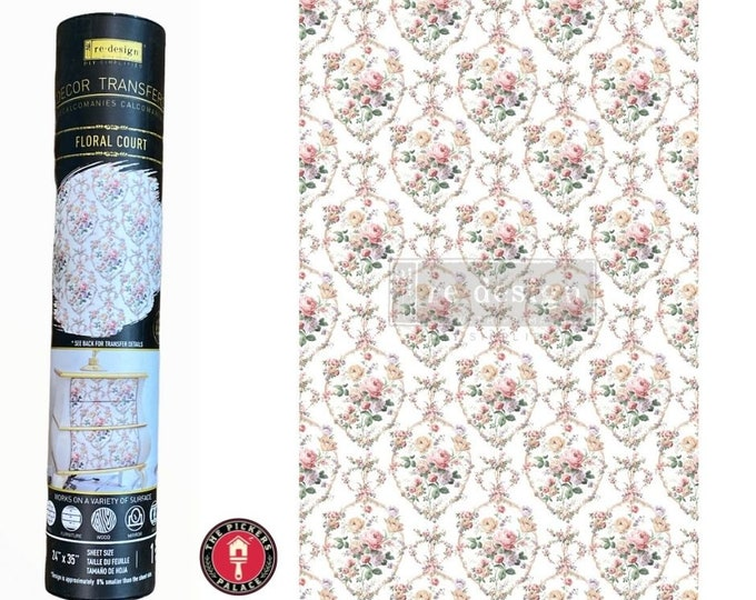 FLORAL COURT Rub on Furniture Transfer  floral Transfer with Free Shipping. Redesign with Prima