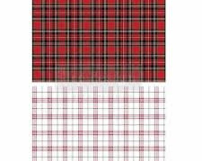 Red Gingham Christmas Transfer, Prima Transfers, Redesign Transfer, Free shipping