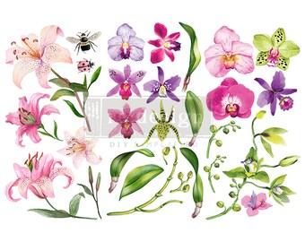 SUNSET TROPICS Small Rub On ReDesign Prima Transfers, Flower transfer, Bee Transfer,  Free Shipping,  12 x 6 transfers