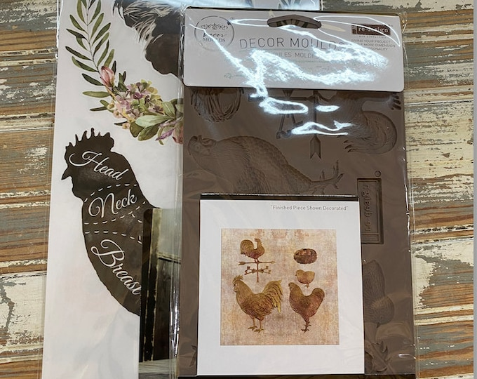 I LOVE CHICKENS bundle: New Redesign Chicken Mold and Rooster Transfers in one awesome deal with Free shipping