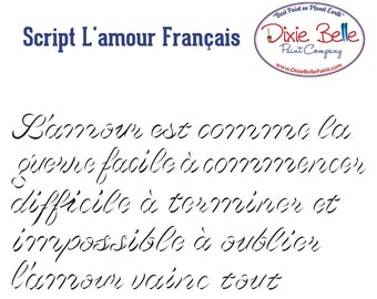 NEW! Dixie Belle Stencils, Script L' Amour Francais,  Furniture Stencils, Mylar Stencils,  Wall stencil, stencils, FREE SHPPING