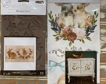 The Beautiful Bunny bundle: New Redesign Meadow Hare Mold and Cottontail transfers in one awesome deal with Free shipping