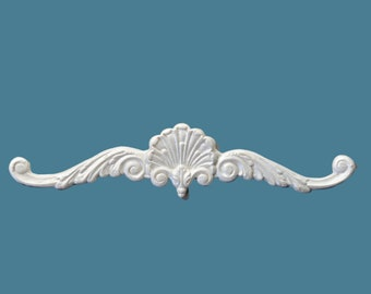 P11  Shell and Leaf Pediment, EFEX, Replacement Moulding, Historic Moulding, Silicone Moulding, Embellishment , Made In USA, Free Shipping