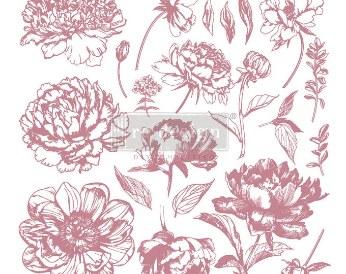 """LINEAR FLORAL Clearly Aligned Decor Stamp, Prima Redesign Stamp, Free Shipping, 12""""x12"""""""