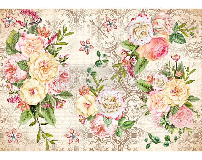 Amiable Roses Rice Paper, Free Shipping ,11.5″ X 16.25″, Re-Design with Prima