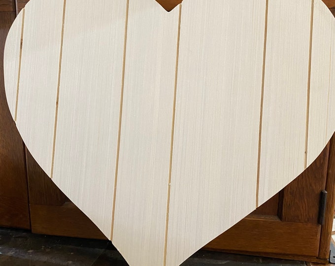 """Wooden Hearts with grooves , 18"""" x 17"""", unpainted with shipping, paint, stencil, stamp, wedding gift, wall decor"""