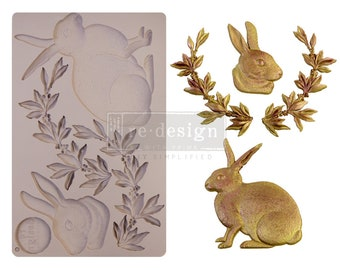 Meadow Hare Mold, FREE SHIPPING , Bunny Mold, Redesign with Prima Decor  , 5 x 8 Silicone Mold