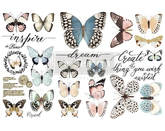 """Affordable transfers! PAPILLON BUTTERFLY Rub On Furniture Decor Transfers from Redesign Prima 12"""" X 6"""" with FREE Shipping"""