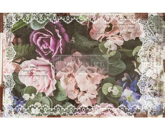 """New Decoupage Mulberry Decor Tissue Paper DARK LACE  Free Shipping  19"""" x 30"""" Re-Design with Prima"""
