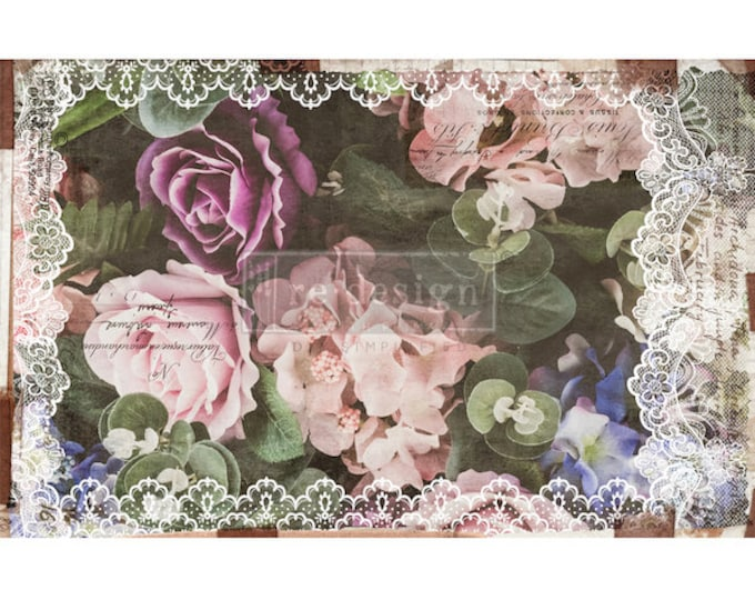 "New Decoupage Mulberry Decor Tissue Paper DARK LACE  Free Shipping  19"" x 30"" Re-Design with Prima"