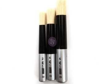 3 pc Art Brush Dabbing Set, wax brush, paint brush, acrylic brush, round brush , free shipping