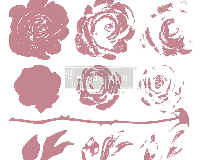"""MYSTIC ROSE Clearly Aligned Decor Stamp, Prima Redesign Stamp, Free Shipping, 12""""x12"""""""