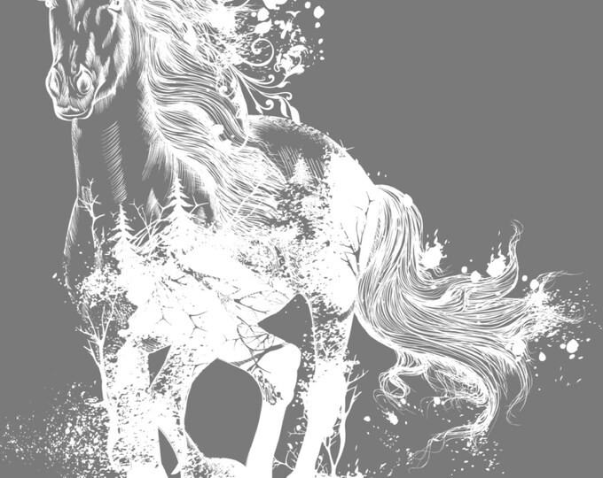 White Ink Majestic Horse Hokus Pocus transfer, New Furniture Transfers, Rub on Transfer,  Free shipping