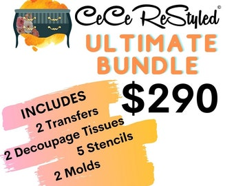 CECE RESTYLED: The Ultimate Bundle, 5 stencils, 2 transfer, 2 molds, and 2 decoupage tissues