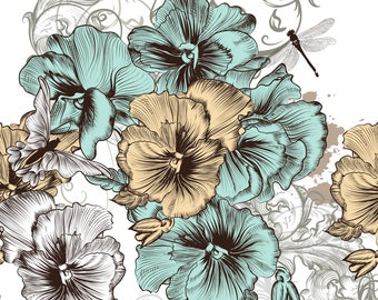 New  Decoupage Rice Paper BLUE AND YELLOW Flowers, Dixie Belle,3 sheets per pack,   Free Shipping