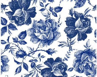 Decoupage Rice Paper BLUE SKETCHED, Dixie Belle 3 sheets per pack and Free Shipping