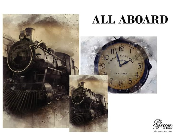 Pre Order ALL ABOARD Grace on Design  Decoupage Pack, 3 sheets , Free Shipping