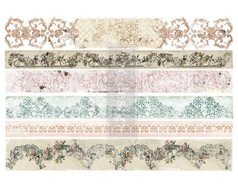 Distressed Border ll Transfer with FREE SHIPPING, Redesign transfer, lace border transfer, vintage border transfer