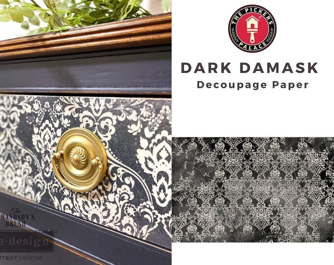 """New Decoupage Mulberry Decor Tissue Paper DARK DAMASK  Free Shipping  19"""" x 30"""" Re-Design with Prima"""
