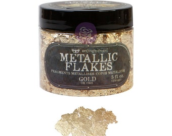 Gold Metallic Art flakes, mixed media, scrapbooking, journal FREE SHIPPING