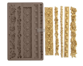Elegant Borders Redesign Prima Resin, Clay, and Culinary Decor Molds with Free Shipping 5 x 8 Silicone Mold