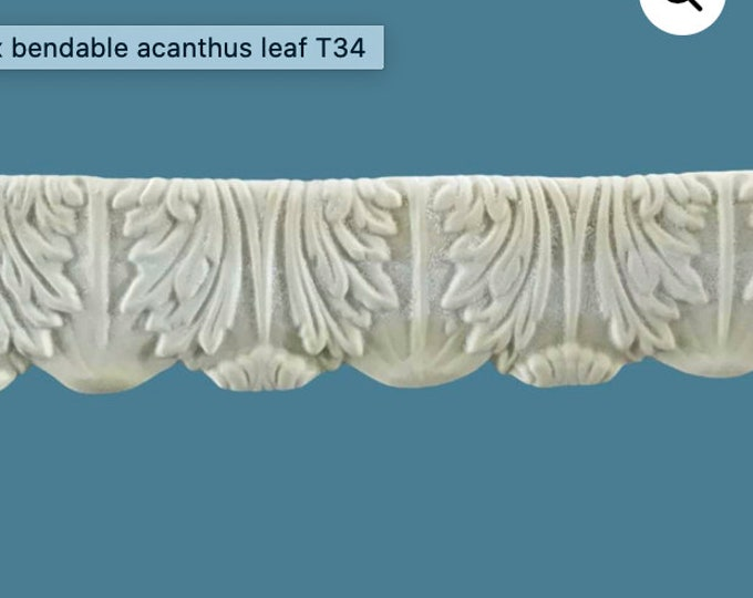 T34 Large Acanthus Trim, EFEX, Replacement Moulding, Historic Moulding, Silicone Moulding, Embellishment  , Made In USA, Free Shipping