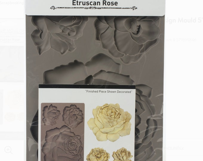 Etruscan Rose FREE SHIPPING Redesign with Prima Decor Moulds , Silicone Mold,  Resin Mold, 5 x 8 Silicone Mold
