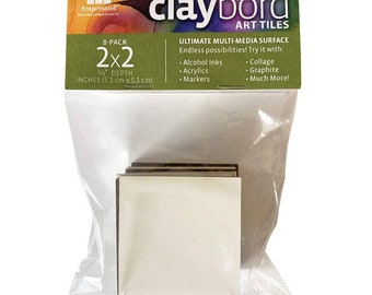 """2"""" x 2"""" Claybord Art Tiles with Free Shipping. For mixed media, coasters, tile, jewelry and any other art you can dream up!"""