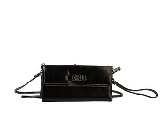 Leather Black Wallet from Prima ReDesign WITH FREE SHIPPING, Decorate your Purse, Transfers
