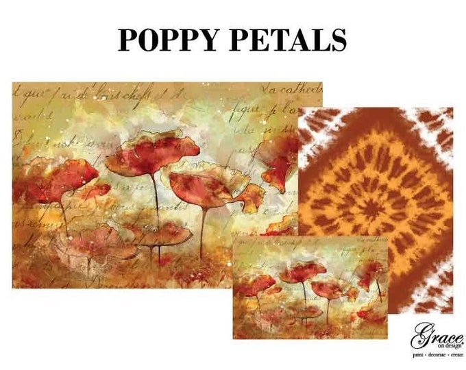 POPPY PETALS Decoupage Pack, 3 sheets , Free Shipping