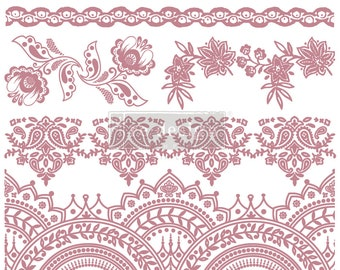 """BOHEMIAN FLORALS Clearly Aligned Decor Stamp, Prima Redesign Stamp , Mixed Media, Walls, Free Shipping, 12""""x12"""""""
