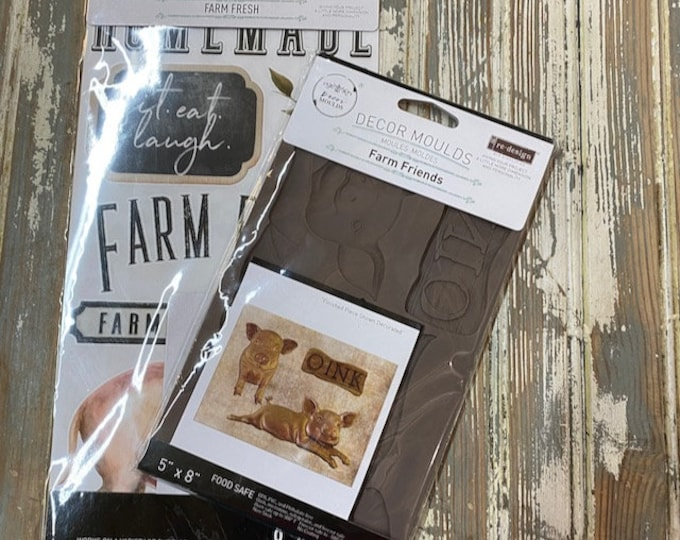 The Farm Friends Little Pig bundle: New Redesign Farm Friends Mold and Farmfresh transfers in one awesome deal with Free shipping