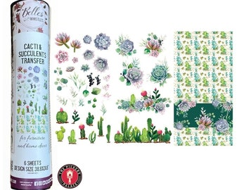 CACTUS Rub on Transfer from Dixie Belle Paint transfer with Free shipping, 6 SHEETS Succulent Cactus Transfer