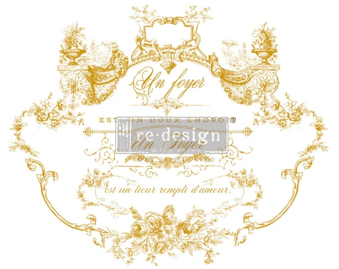 NEW Lovely Script gold transfer, Prima Transfers, Redesign Transfer, Free shipping
