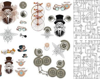 STEAMPUNK Dixie Belle Rub on Furniture transfer, 6 sheet Steampunk Transfers with  Free shipping