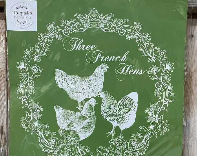 3 French Hens Magnolia Design Company Stencil, Reusable Stencil, Adhesive Stencil FREE SHIPPING