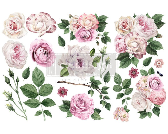 """Affordable transfers! Delicate Roses Transfer Collection 12"""" X 6"""" with FREE Shipping"""