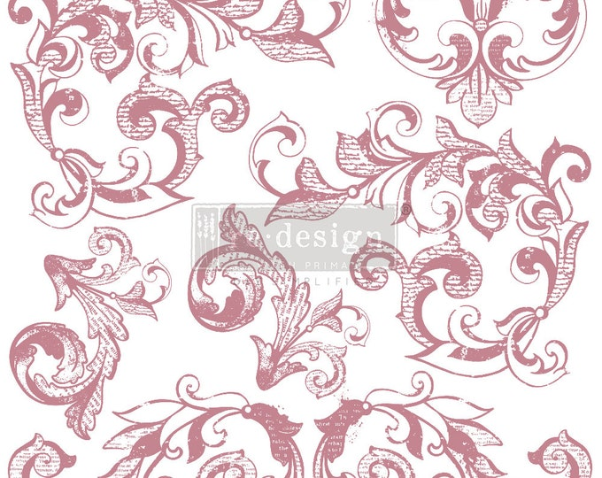 """ELEGANT SCROLLS Clearly Aligned Decor Stamp, Prima Redesign Stamp, Free Shipping, 12""""x12"""""""
