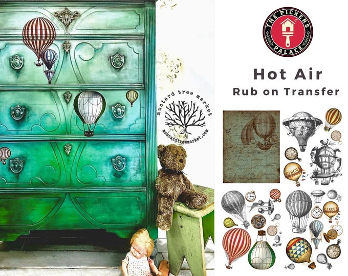 Hot Air & Clocks Dixie Belle transfer, Clock Transfers, Hot Air balloon transfer , Dixie Belle Transfer, Free shipping