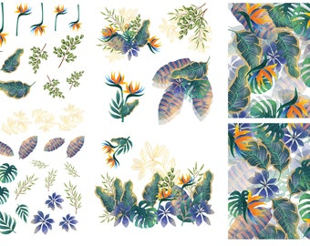 Tropical Leaves Dixie Belle transfer, 6 sheet Leaves Transfers, Dixie Belle Tropical Leaves transfer , Dixie Belle Transfer, Free shipping