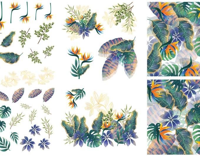 Tropical Leaves Dixie Belle transfer, 6 sheet Leaves Transfers, Dixie Belle Tropical Leaves transfer , Dixie Belle Transfer, Free shipping