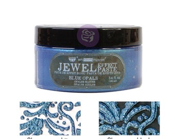Blue Opals, Art Extravagence Jewel Texture pastes, sparkly paste, stencil paste, mixed media, journaling , FREE SHIPPING