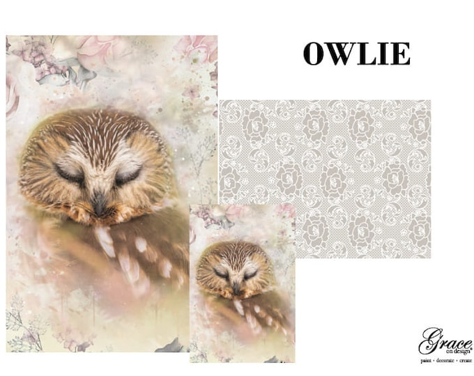 Pre Order OWLIE Grace on Design  Decoupage Pack, 3 sheets , Free Shipping