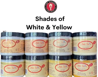 Shades of WHITE & YELLOW in Dixie Belle Chalk Paint: furniture paint, cabinet paint, door paint, and craft paint