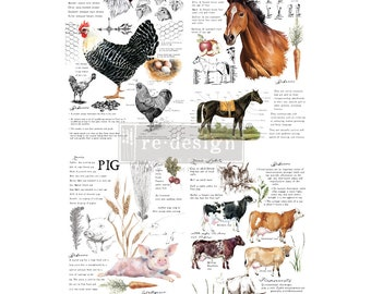 NEW FALL 2020 Farm Life , New Prima Transfer,  Redesign Decor Transfer Free Shipping Pig Horse Cow Rooster