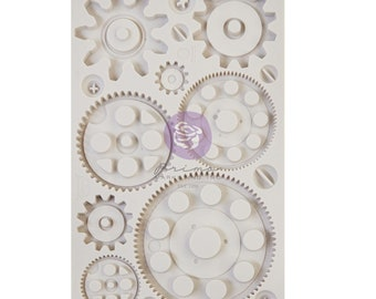 Finnabair Machine Gears, Free Shipping Redesign with Prima Decor Moulds , DIY Silicone Mold, Resin Mold, Chocolate Mold, 5 x 8 Silicone Mold