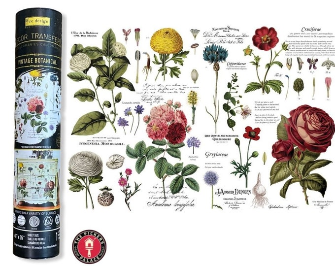 VINTAGE BOTANICAL transfer, Rub On Furniture Transfer for furniture painting  from Redesign with Free Shipping